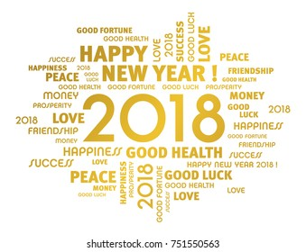 Gold greeting words around New Year 2018 date, isolated on white