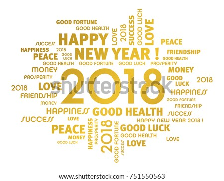 Gold Greeting Words Around New Year Stock Vector (Royalty Free ...
