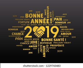 Gold greeting words in French around New Year date 2019, composed with a handshake heart symbol, on black background