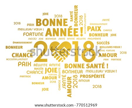 Gold greeting words french around new stock vector royalty free gold greeting words in french around new year 2018 date composed with a handshake heart m4hsunfo