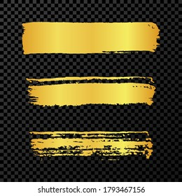 Gold grunge brush strokes. Set of three painted brush ink stripes. Ink spot isolated on dark transparent background. Vector illustration