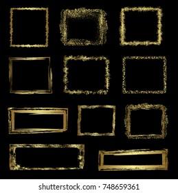 Gold grunge frames, vector
