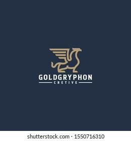 Gold gryphon  line art logo design