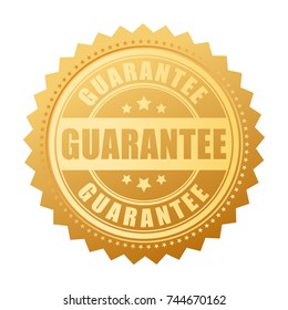 Gold guarantee vector seal isolated on white background