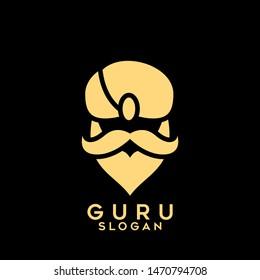 gold guru logo icon design vector illustration with black background