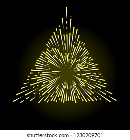 Gold halo angel burst in shape of triangle fire flakes. Isolated on black background. Holy golden nimbus aureole, saint symbol. Tattoo reference. Vector.