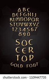 Gold Hand Drawn Font Called Soccer Top Cyrillic Style Sport Trophy Shape Lettering - Golden Caps and Numerals on Black Football Ball Texture Background - Vector Crafted Typography Design