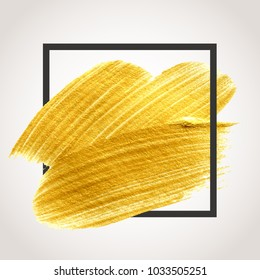 Gold hand drawn paint brush stroke with black frame. Abstract vector golden acrylic smear spot.