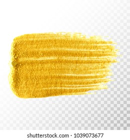 Gold hand drawn paint brush stroke isolated on transparent background. Abstract vector golden acrylic smear spot. High detailed gold glittering textured paint stroke