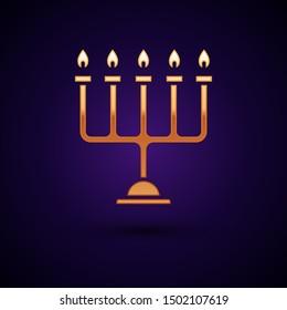 Gold Hanukkah menorah icon isolated on dark blue background. Hanukkah traditional symbol. Holiday religion, jewish festival of Lights.  Vector Illustration