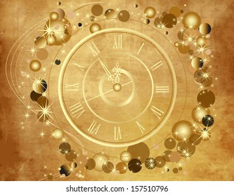 Gold Happy New Year  background  with clock on old paper