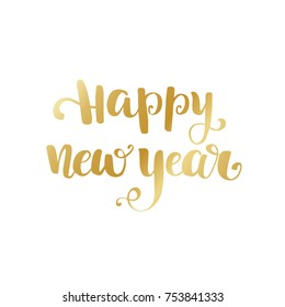 Gold Happy New Year brush lettering text on white background