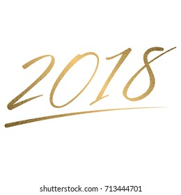 Gold Happy New Year text for lettering for premium white greeting card