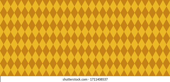 Gold Harlequin Seamless Vector Pattern. Golden Diamond Texture. Mardi Gras or Venetian Carnival Style Background. Pattern Tile Swatch Included.