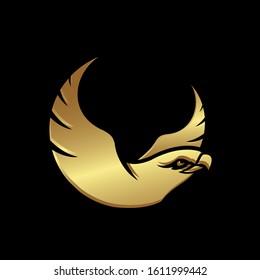 gold head of hawk falcon eagle vector Logo design icon illustration template