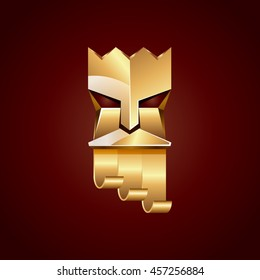 Gold head of king on dark red background. Abstract metallic polygonal logo of God with golden crown.