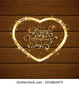 Gold heart with diamonds and lettering Happy Valentines Day on brown wooden background, illustration.