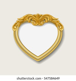 gold heart frame on  wall