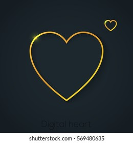 Gold heart icon in the line style, vector frame illustration, card, web design. Luxury, vip golden card, greeting, invitation.