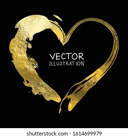 Gold heart isolated on black background, hand painted, golden vector valentines day element for invitation, wedding, poster.