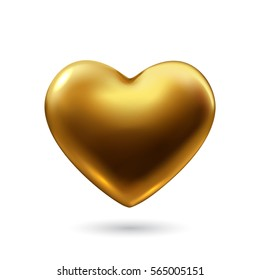 Gold heart isolated on white  background. Happy Valentine's day greeting card template. Vector illustration.