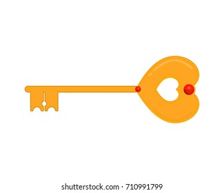 Gold heart key with diamonds, game interface