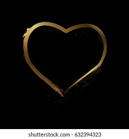 Gold Heart. Love. Romantic heart Frame Vector. Calligraphy heart background. Heart brash. Art,