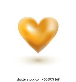 Gold heart on  white background. Vector illustration. Valentine's day card.
