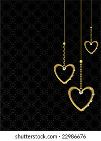 Gold heart patterned background 1 - vector