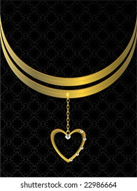 Gold heart patterned background 6 - vector