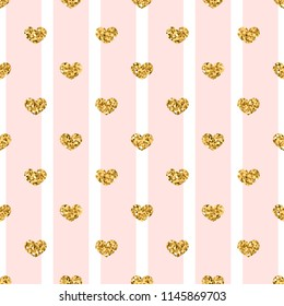 Gold heart seamless pattern. Pink-white geometric stripes, golden confetti-hearts. Symbol of love, Valentine day holiday. Design wallpaper, background, fabric texture Vector illustration