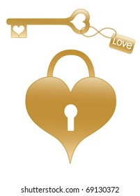 Gold Heart Shaped Lock and Key.  Fully editable and resizable.