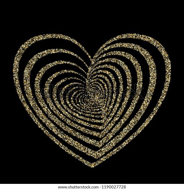 Gold Heart Vector Wedding Invitation Background Stock Vector