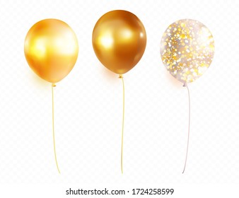 Gold helium balloon  set isolated on transparent background. Premium vector.