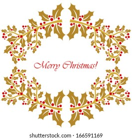 Gold holly berry frame. Christmas background