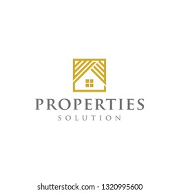 gold home properties real estate luxury solution logo icon vector template