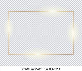 Gold horizontal rectangle frame, golden border, vector framework, banner, metal glowing thin lines.  Geometric shape forms.