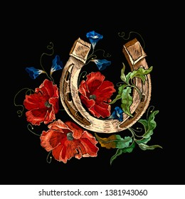 Gold horseshoe. Red poppies and violet flowers. Embroidery art. Fashion template for clothes, t-shirt design