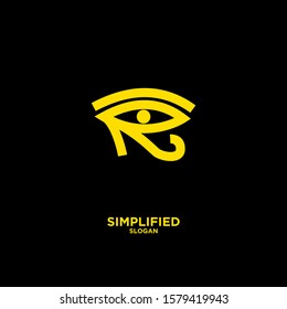 gold Horus one eye logo icon design vector illustration