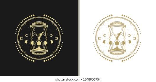 Gold Hour Glass Logos, Luxury Design Vector Illustration Template