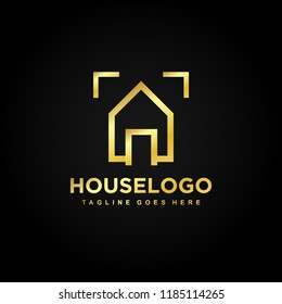 Gold House Real Estate Premium Luxury Icon Logo