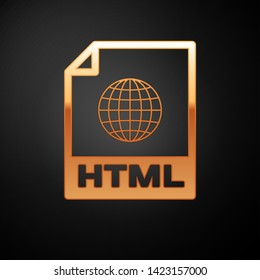 Gold HTML file document icon. Download html button icon isolated on black background. HTML file symbol. Markup language symbol. Vector Illustration