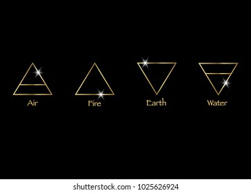 gold icon elements : Air , Earth , Fire and Water. Wiccan divination symbols. Ancient occult symbols, vector illustration