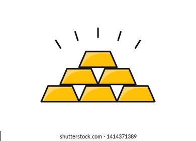 Gold icon shining. Symbol of success. Yellow metal. Financial reserve. EPS 10