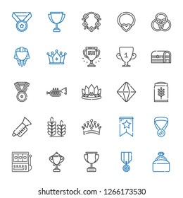 gold icons set. Collection of gold with engagement ring, medal, trophy, slot machine, banner, crown, wheat, trumpet, minerals, chest, egyptian. Editable and scalable gold icons.