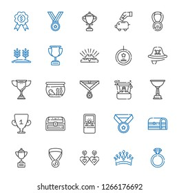 gold icons set. Collection of gold with engagement ring, crown, earrings, medal, trophy, chest, ring, fishbowl, pirate, best seller, wheat, piggy bank. Editable and scalable gold icons.