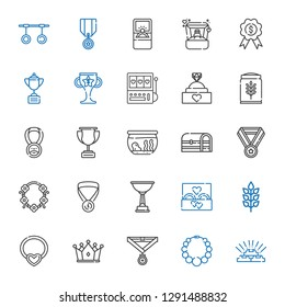 gold icons set. Collection of gold with necklace, medal, crown, wheat, wedding ring, trophy, chest, fishbowl, engagement ring, slot machine. Editable and scalable gold icons.