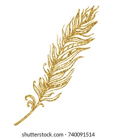 Gold illustration with feather on a white background. Vector simple silhouette.