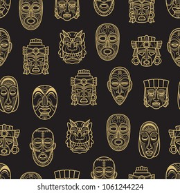 Gold indian aztec and african historic tribal mask seamless pattern background. Vector illustration
