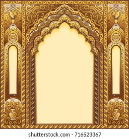 Gold Indian ornamented arch.